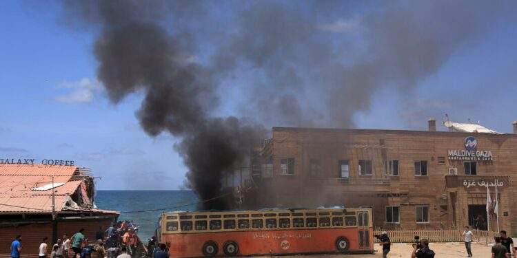 A coffee shop at the edge of the Gaza Strip was targeted by an Israeli aircraft on Monday.